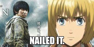 Live action vs anime Armin. Credit to WeirdCrazyFun on Pinterest.