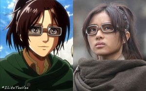 Anime Captain Hanji (left) and live action Hans (right). Credit to iLikeTeeVee